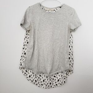 LOFT Crew Neck Bird Printed Short Sleeve Blouse